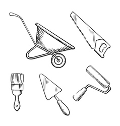Saw trowel wheelbarrow paint brush and roller vector image