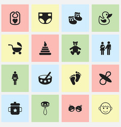 set of 16 editable kid icons includes symbols vector image vector image