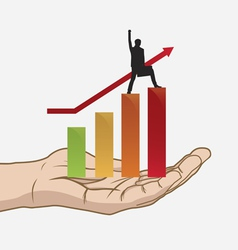 success in hand vector image vector image
