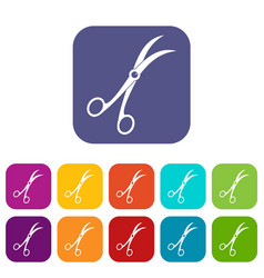 Surgical scissors icons set flat vector