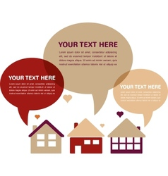three houses with speech bubbles in retro colors vector image