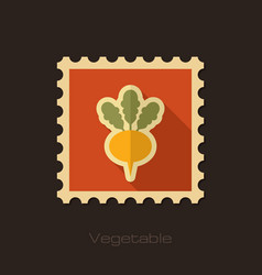 Turnip flat stamp vegetable root vector