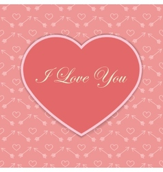 Valentine card with pink heart vector