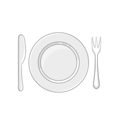 Plate with fork and knife icon monochrome style vector