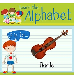 Flashcard letter f is for fiddle vector