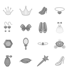 Princess doll icons set monochrome style vector image