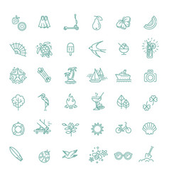 outline web icon set - summer vacation beach vector image