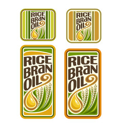 Set labels for cooking rice bran oil vector