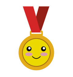 Championship medal comic character isolated icon vector