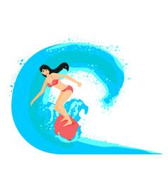 Surfer girl on surfboard vector