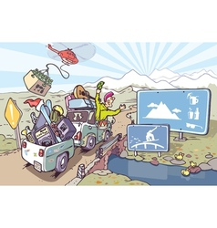 Road trip to mountains vector