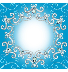 Background with ornament with pearls and silver vector