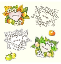 Nature frames with flowers apples and autumn vector