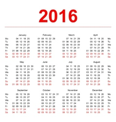 2016 Calendar template Vertical weeks First day vector image vector image