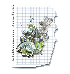 Decoration swirl on checked sheet of paper vector