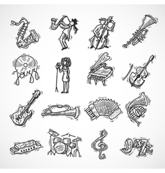 Jazz icons sketch vector