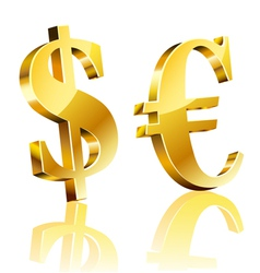3D dollar and euro sign vector image vector image
