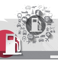 Hand drawn fuel icons with icons background vector image