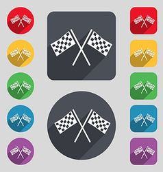 Race flag finish icon sign a set of 12 colored vector