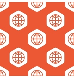 Orange hexagon globe pattern vector
