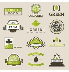 Fresh and natural food logos vector