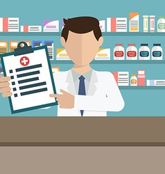 Modern flat of a male pharmacist showing medicine vector