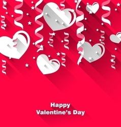 Background for valentines day with paper hearts vector