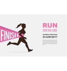 Number one winner at a finish line breast cancer vector