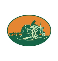 Farmer worker driving farm tractor vector