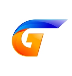 G letter blue and orange logo design fast speed vector