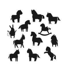 Cartoon horse black silhouette vector image