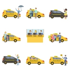 Taxi Cars Drivers And Clients Set vector image