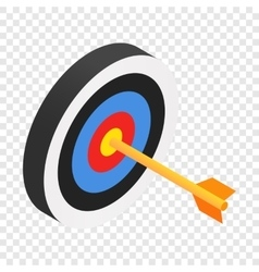 Arrow in target isometric 3d icon vector