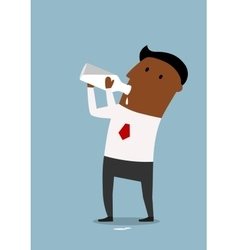 Businessman drinking milk from bottle vector image