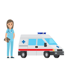 cheerful nurse with ambulance car flat design vector image vector image