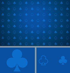 Clean abstract poker background blue clubs vector