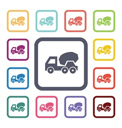 concrete mixer flat icons set vector image