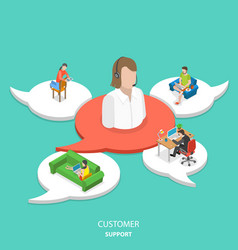 customer support flat isometric concept vector image vector image