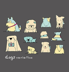dogs variation doodle pastel on dark grey vector image vector image