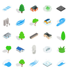 Earth icons set isometric style vector