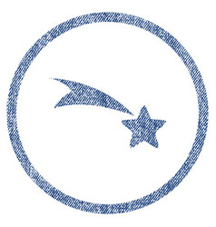 Falling star rounded fabric textured icon vector
