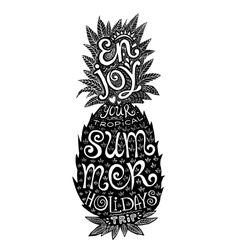 Hand drawn grunge pineapple silhouette with vector
