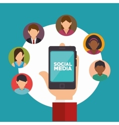 hand holds smartphone social media communication vector image