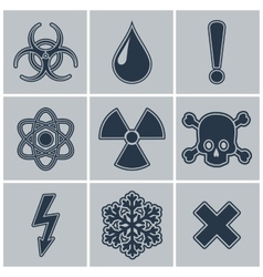 Icon set of warning symbols vector