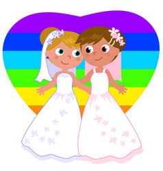 lesbian couple marriage vector image vector image