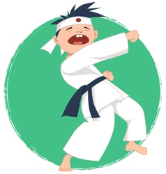 Little boy doing karate vector image vector image