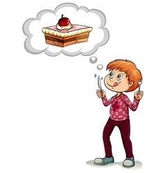 Man thinking of piece of cake vector