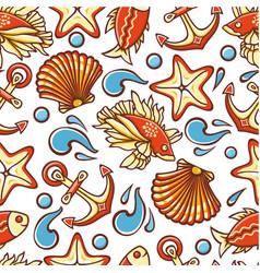marine pattern seamless vector image