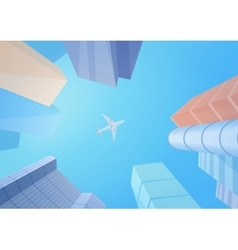 Modern buildings skyscrapers and airplane in the vector image
