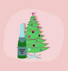 Paper sticker on stylish background christmas tree vector